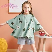 3-12Yrs çocuk kız pamuk Batwing kollu eğlence giyim üst ve şortlar giyim setleri çocuk yaz konfor pijama