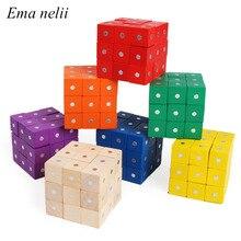 10 шт. 2X2 см магнитные кубики цветные деревянные строительные блоки игра деревянная игрушка детская геометрическая форма цвет обучающие игрушки для детей