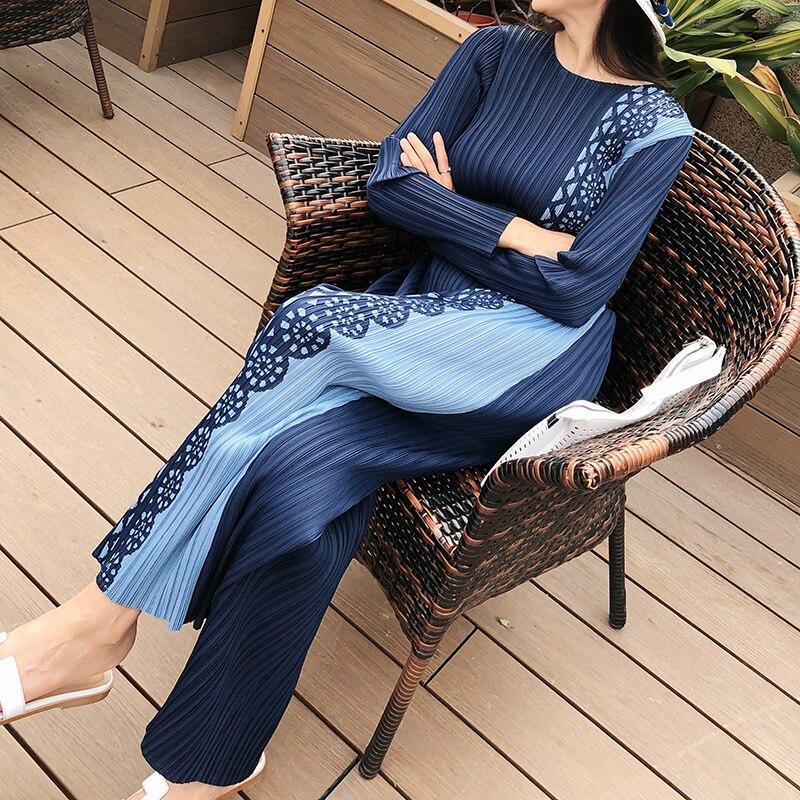 LANMREM 2020 New Spring Round Collar Print Colorblock Pleated T-shirt And Wide Leg Pants Women Streetwear Loose Causal Set PD606