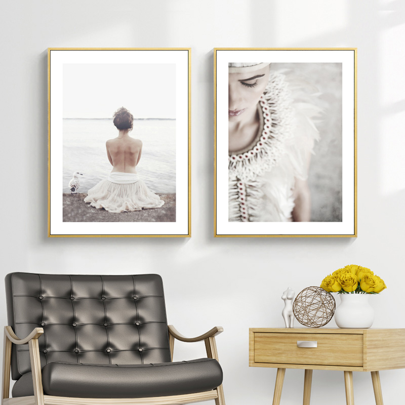 White Feather Poster Dream Abstract Canvas Painting Beach Scandinavian Posters And Prints Wall Art Decorative Picture Unframed