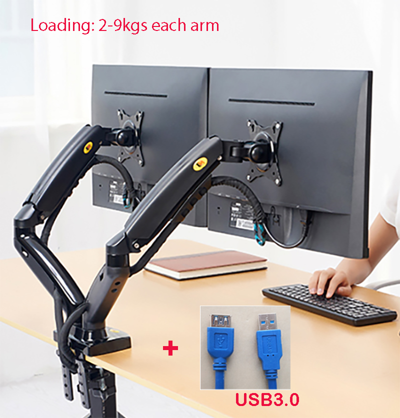 "2019 New NB F160 Gas Spring Desktop 17""-27"" Dual Monitor Holder Arm With 2 USB3.0 Monitor Mount Bracket Load 2-9 Kg Each Arm"