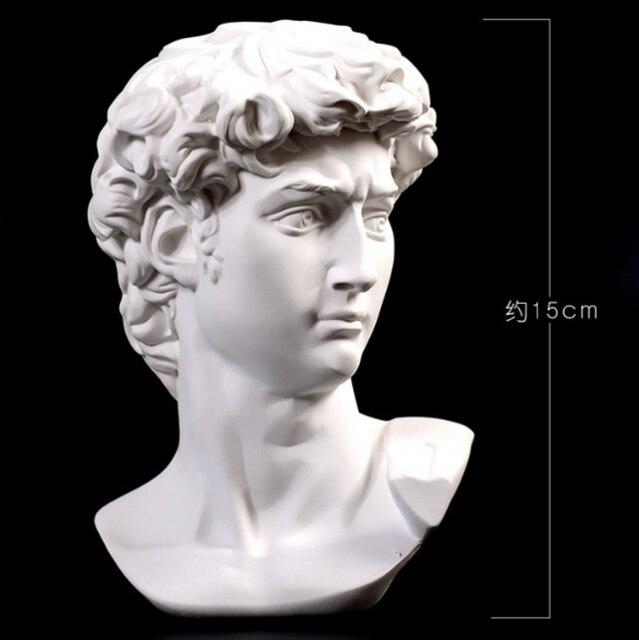 15cm David Statue Head Portraits Mini Gypsum Michelangelo Home Decoration Resin Art Craft Sketch Practice Room Decor sculpture 2