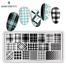 BORN PRETTY Rectangle Nail Stamp Plates Geometry Checked Design Image Stamping Plates for Manicuring DIY
