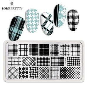 Image 1 - Born pretty 12*6 см Прямоугольник Ногтей Штамп Шаблон Проверяется Дизайн Плиты Изображения L041