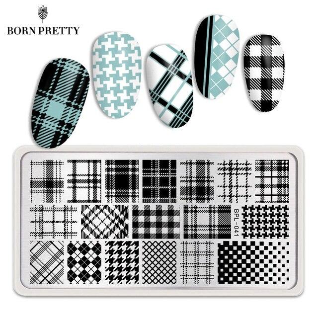 Born pretty 12*6 см Прямоугольник Ногтей Штамп Шаблон Проверяется Дизайн Плиты Изображения L041