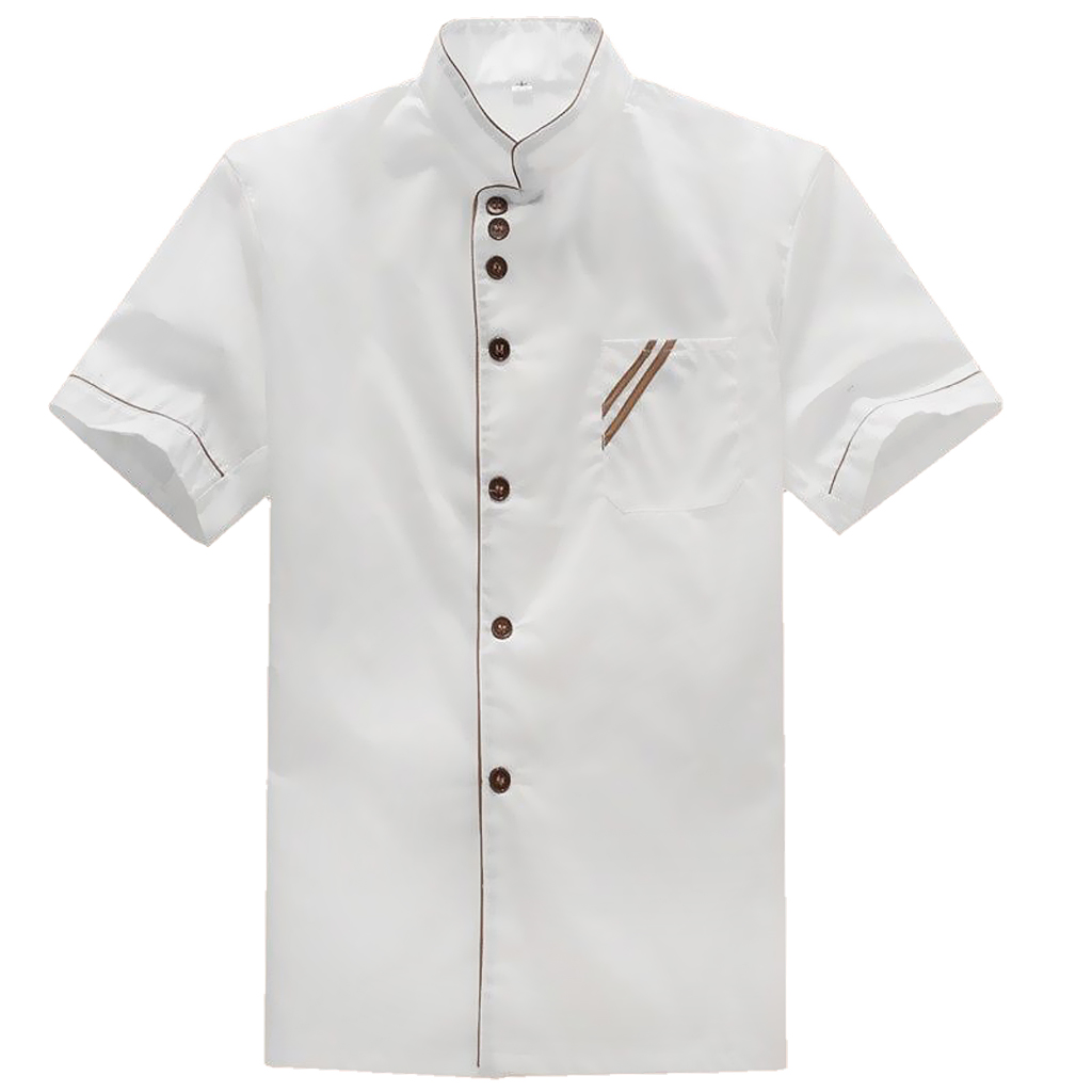 Executive Chef Coat , White Chef Jacket Cooking Work Wear With Contrast Piping And Buttons
