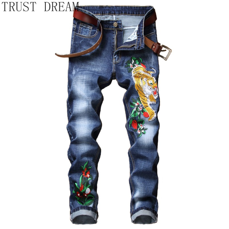 Europeans Style 2019 Man Stretch Jeans Slim Embroidery Pants Tiger Flower Stonewashed Trousers Man Casual Streetwear Cool Jean