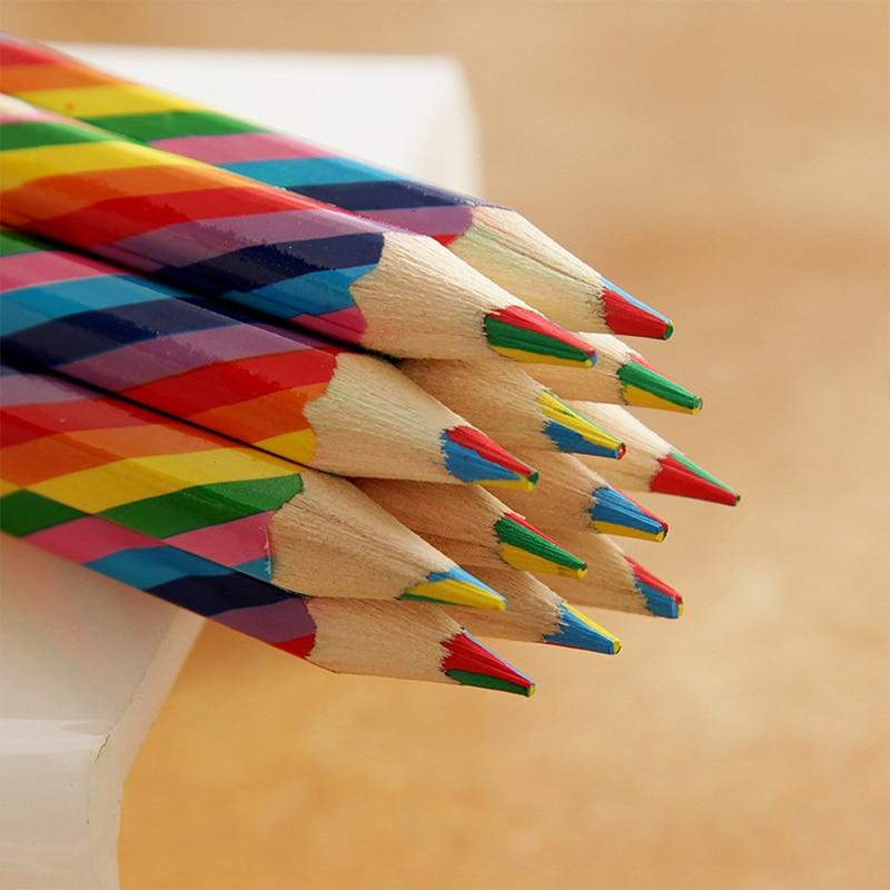 4 teile/paket Kawaii 4 Farbe Konzentrischen Regenbogen Bleistift Buntstifte Farbige Bleistift Set Kunst Schule Liefert für Malerei Graffiti Zeichnung
