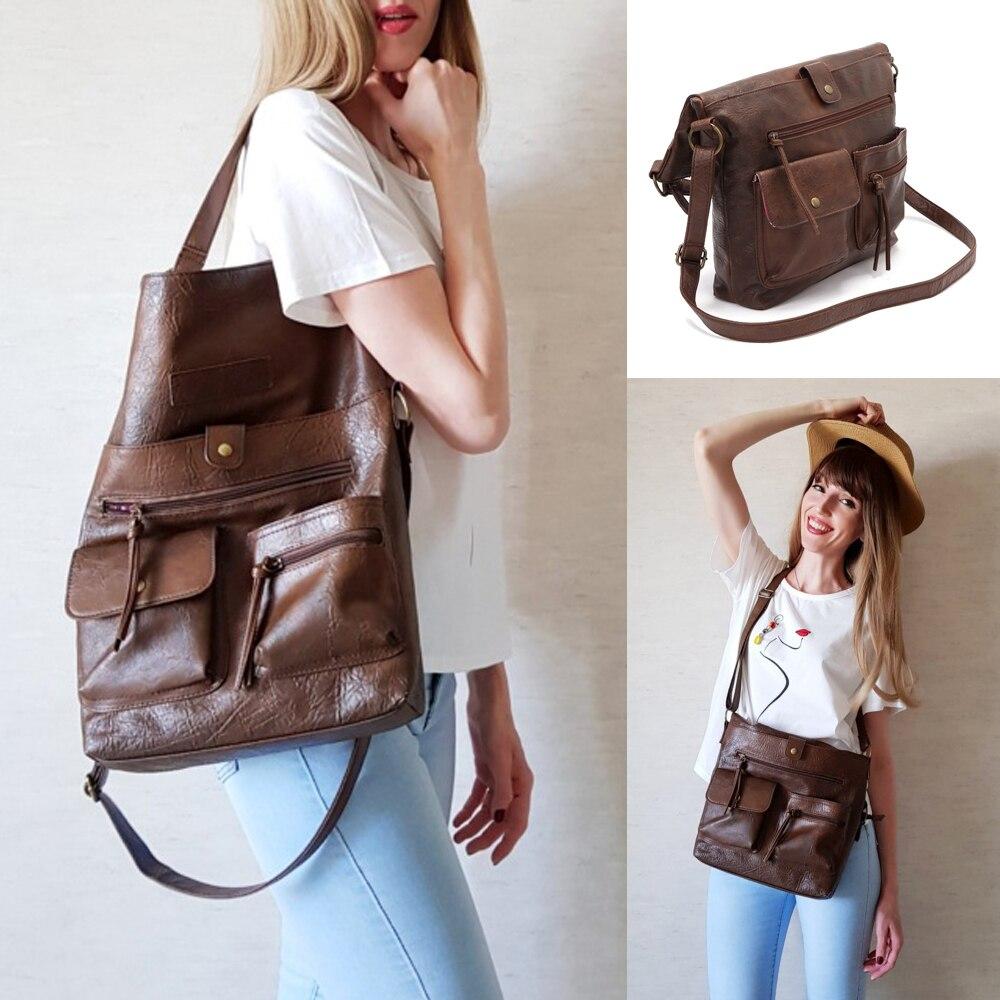 RoyaDong Vintage Big Bags For Women Shoulder Bag Female Bucket Totes For Girl All-Purpose High Quality Handbags 14'Laptop Bag