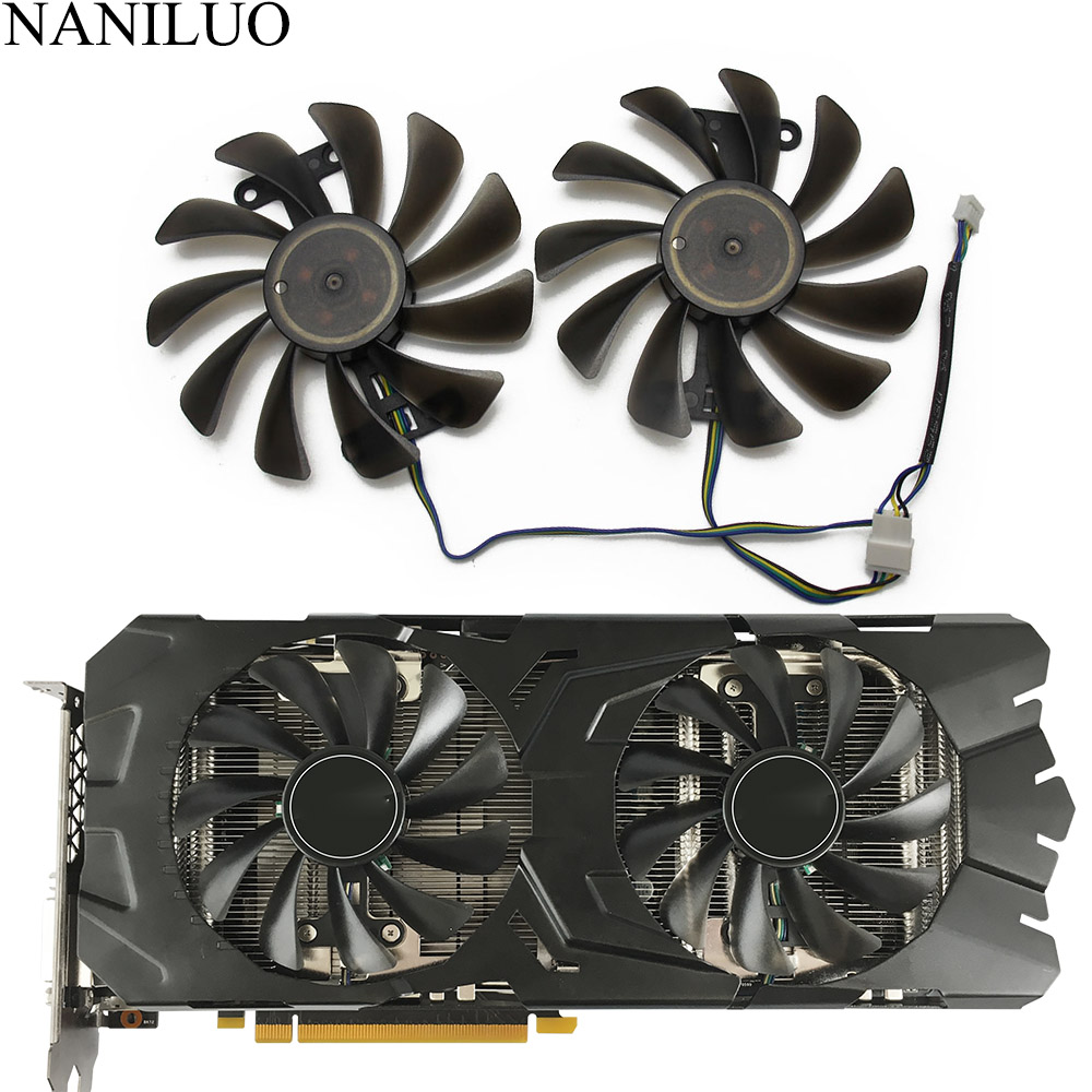 2pcs/lot GTX1070 <font><b>GTX1070Ti</b></font> GTX1080 fan For KFA2 GALAXY <font><b>GeForce</b></font> GTX 1070 1070Ti 1080 EXOC SNPR Graphics Card cooling replace Fan image