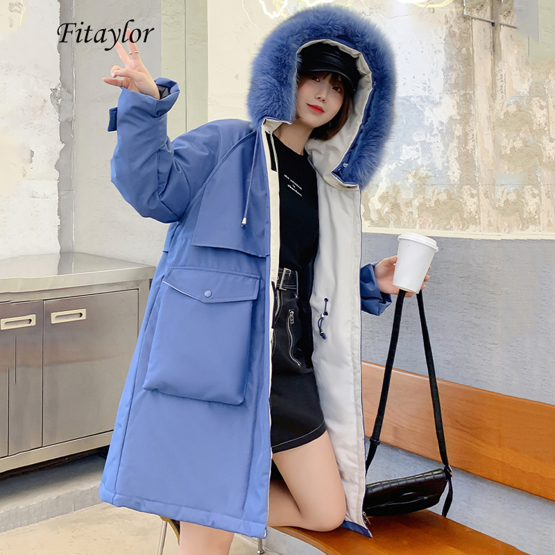 Fitaylor Winter Large Real Fox Fur Collar Hooded Down Jacket Women Long White Duck Down Parka Warm Thick Casual Loose Outwear