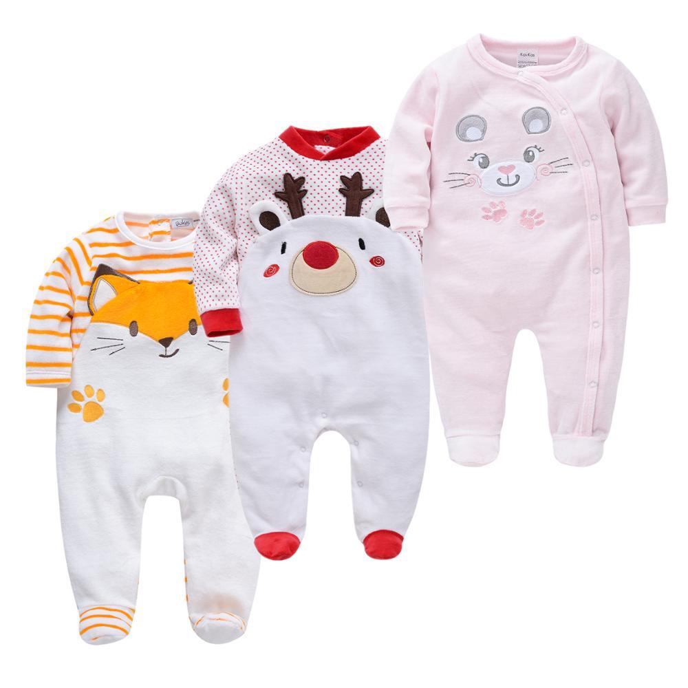 Warm Christmas Newborn Baby Pijamas Sets 3PCS Cartoon Pijamas de bebe Cute Baby Sleeping Suit Vetements Bebe Pyjamas for Toddler
