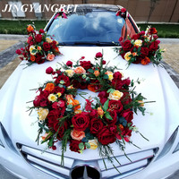 Wedding car decoration front flower set simulation rose eucalyptus lavender knot wedding team layout non flowers
