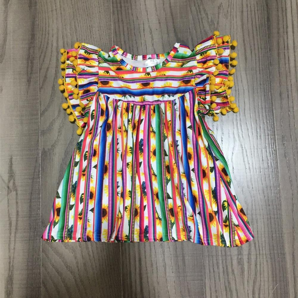 Baby Girls Clothes Girls Multicolor Stripe Top Baby Girls Summer Raglans With Sunflower Print