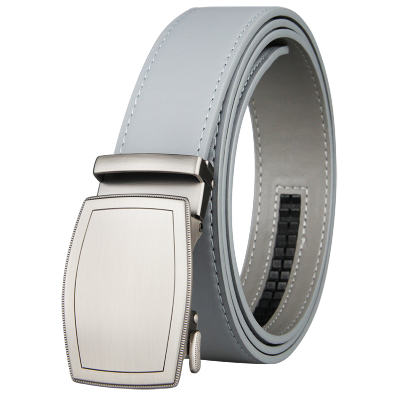 New Famous Brand Belt Men Top Quality Genuine Luxury Leather Belts for Men Strap Male Metal Automatic Buckle 3.5cm Gray Belt