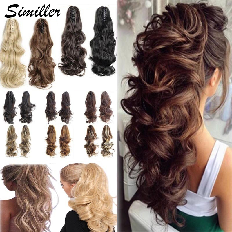Similler когти удлинение конского хвоста длинные кудрявые челюсти заколка для волос удлинители волос синтетическое волокно для женщин