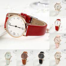 Women Imitation Leather Strap Quartz Wristwatch Digital Charm Lady Jewelry
