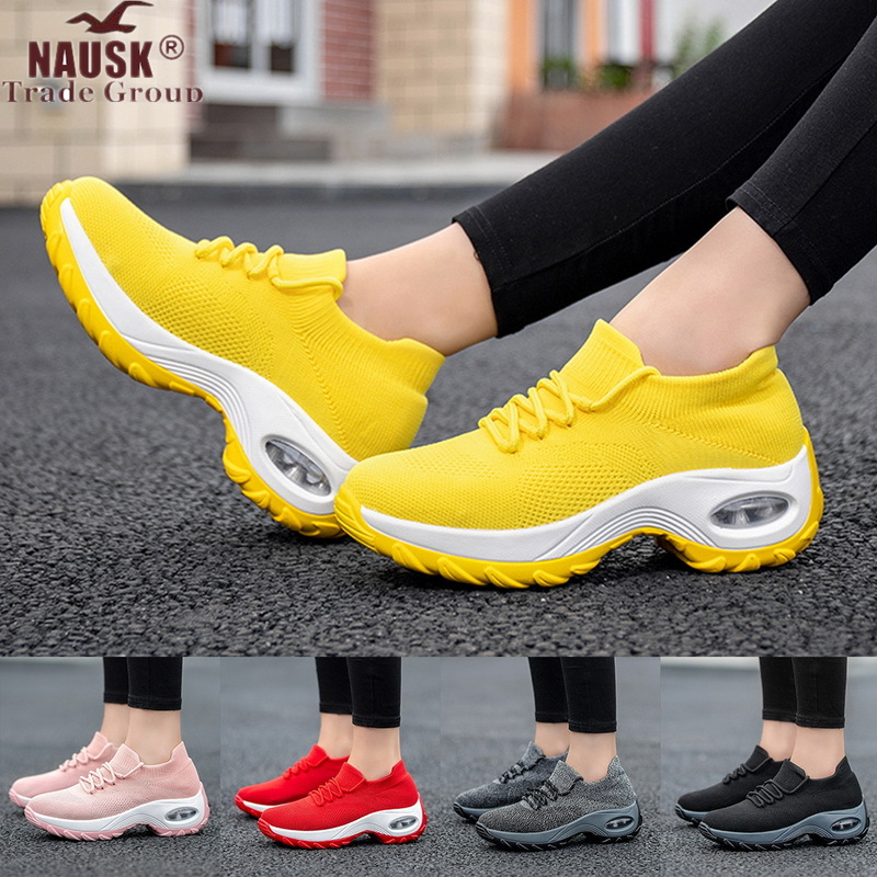 NAUSK Platform Sneakers Shoes Breathable Casual Shoes Woman Fashion Height Increasing Ladies Shoes Plus Size 36-42 2020