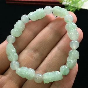 Image 4 - Natural Jade A Bracelets Gemstone Crystal Stretch Pi XIu Beads Stone 19x13mm Women Men Pi Xiu Pendant Bracelets Jewelry AAAAA