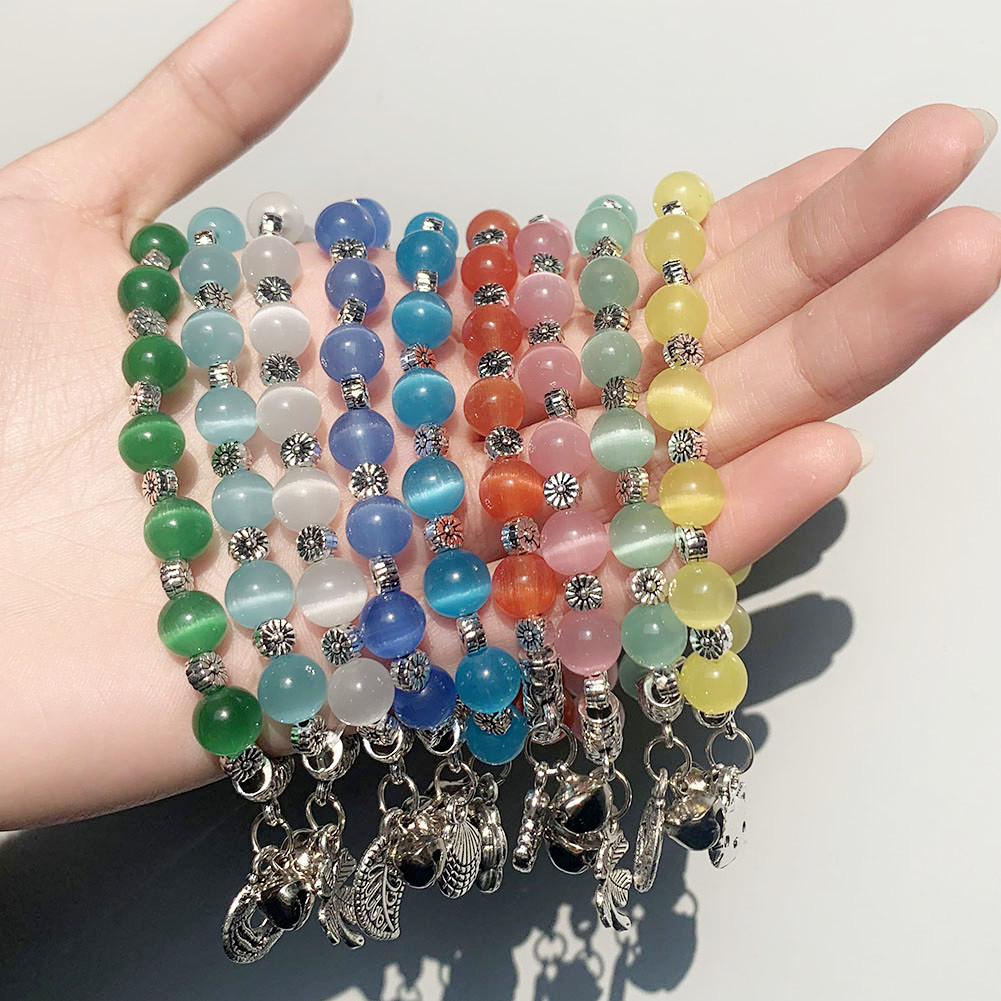 Pendant Bracelet Bangle Beaded-Bell Charm Fashion Jewelry Glass Handmade Multi-Color