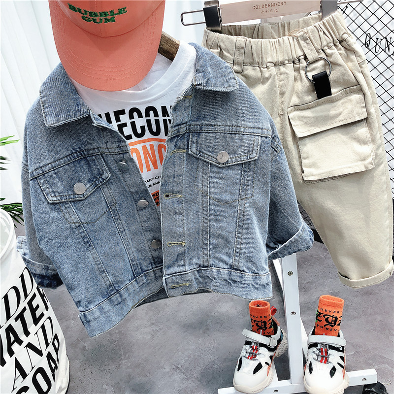 Kids Tracksuit 2020 New Spring Letter White Shirt Casual Trousers Denim Jacket 3pcs Toddler Boys Clothing Sets Baby Child Suits