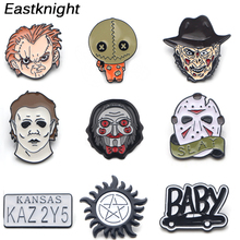 K505 Trick 'R Treat Supernatural Horror Killer Pins Metal Brooches and Pins Enamel Pin for Badge Collar Halloween Jewelry 1pcs k313 trick r treat horror pins metal brooches and pins enamel pin for backpack bag badge brooch t shirt halloween jewelry