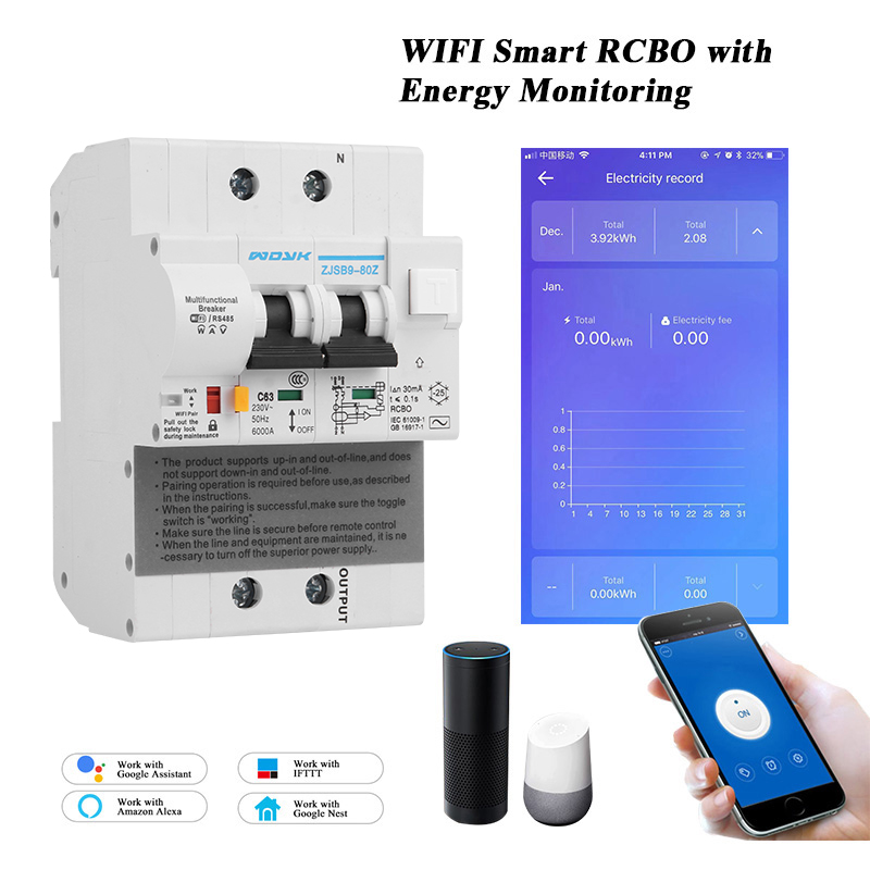 WIFI Smart Circuit Breaker With Energy Monitoring Leakage Protection Compatible With Alexa ,Google Home For Smart Home RS485
