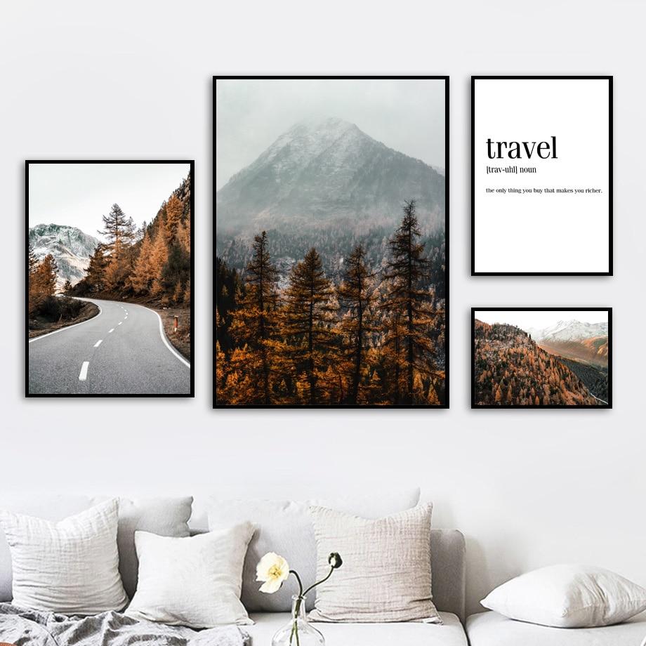 Настенная картина с изображением лесной дороги и гор, Картина на холсте, скандинавские путешествия, холст, плакаты и принты, настенные карти...