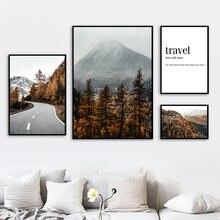 Floresta estrada montanha pino impressão da arte da parede pintura em tela de viagem nórdico posters e cópias parede fotos para sala estar