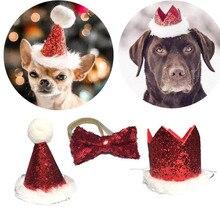 Рождественский галстук-бабочка для кота и кепки для питомца, милый красный галстук-бабочка, регулируемый помпон для собаки, вечерние кепки для собаки, аксессуары для домашних животных