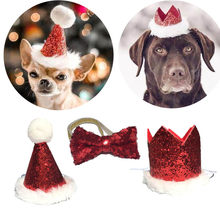 Christmas Pet Dog Cat Bow Tie and Cap Cute Red Bowknot Tie Collar Adjustable Pom-poms Topper for Dog Party Dog Cap Pet Accessory(China)