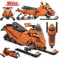 961PCS Stadt Technologie Mechanische Montiert Bausteine Für Legoing Snowmobile 1:8 Auto Steine Pädagogisches Spielzeug für Kinder