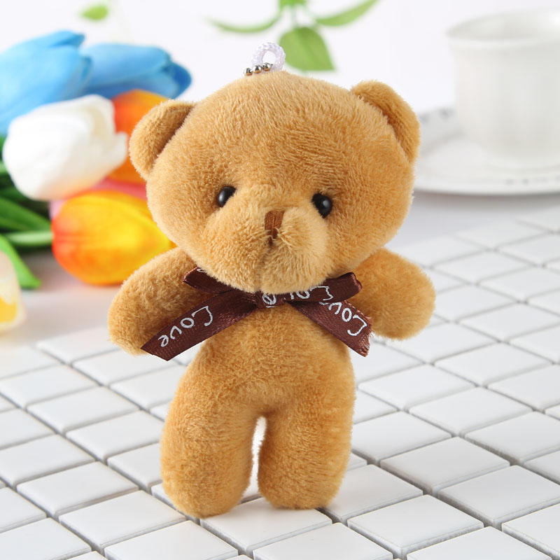 12CM Stuffed Little Bear Plush Toy Small Pendant Bag Accessories For Kid Baby Birthday Gifts