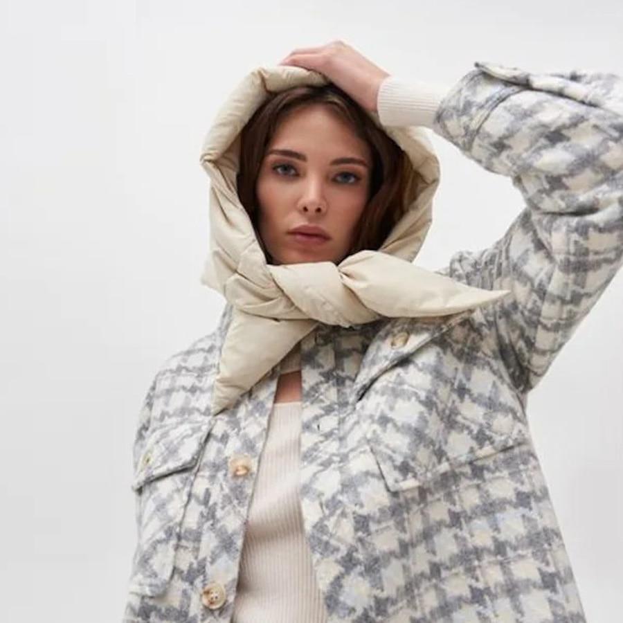 Fashion quilted headscarf puffer scarf triangle shawl Hood Scarf puffy light and warm kerchief winter Puff Neck scarf-hood