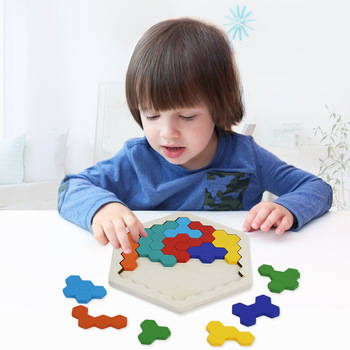 Montessori Toys Educational Wooden Toys for Children Early Learning Materials Kids Intelligence Honeycomb Puzzle Teaching Aids