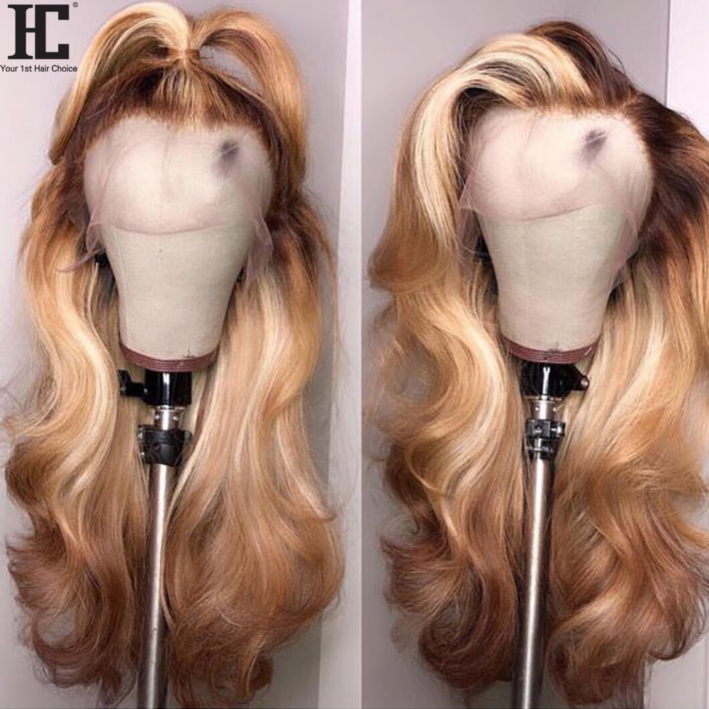 13x4 Lace Front Human Hair Wig Brazilian Body Wave Remy 150% 4/27 Ombre Human Hair Lace Wigs With Baby Hair Pre Plucked HC