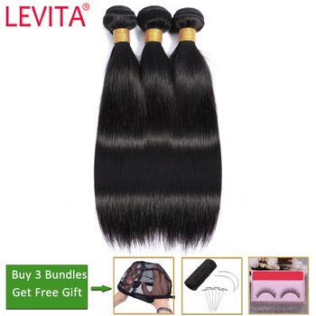 LEVITA straight hair 3 bundles deals 100% human hair bundles deals non-remy hair extension Peruvian brazilian hair weave bundles
