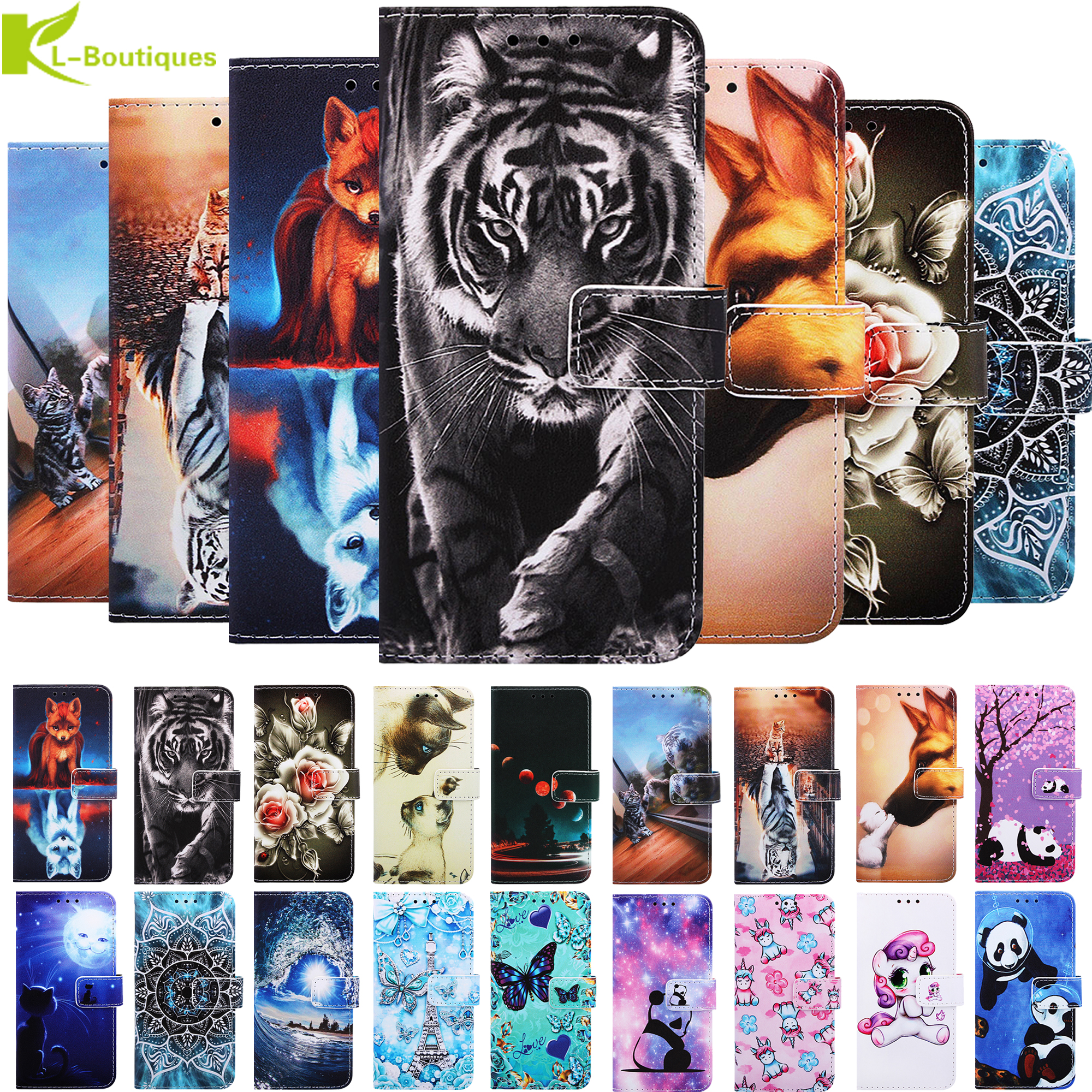 Magnetic Painted case on for Xiaomi Redmi 8a 7a K20 Pro Note 9S 8T 7 Pro Cases capa Xiomi Mi 9T 9 t Pro Book stand leather cover(China)