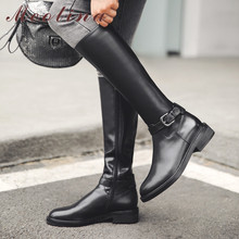 Купить с кэшбэком Meotina Autumn Riding Boots Women Natural Genuine Leather Zip Square Heel Knee High Boots Buckle Round Toe Shoes Lady Winter 43