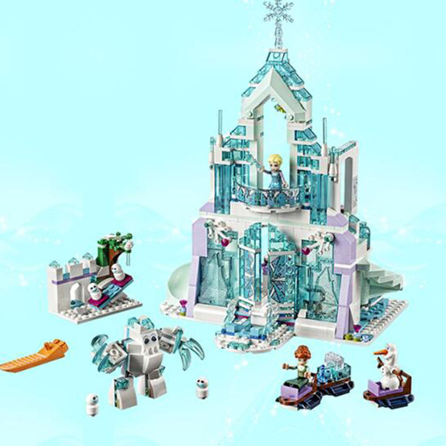 NEW IN STOCK 848pcs Snow Queen Series The Elsa`s Magical Ice Castle Princess lepining friends Building Blocks Bricks girl Toys