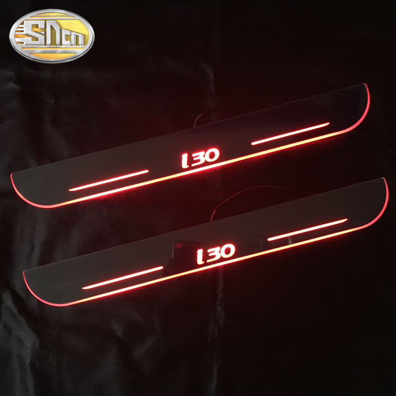 SNCN Waterproof Acrylic Moving LED Welcome Pedal Car Scuff Plate Pedal Door Sill Pathway Light For Hyundai I30 2013 - 2017 2018(China)