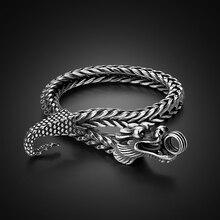 Pulseira de prata masculina shitai, bracelete para homens coreanos modelos de prata esterlina 925, joia vintage thai, bracelete de dragão