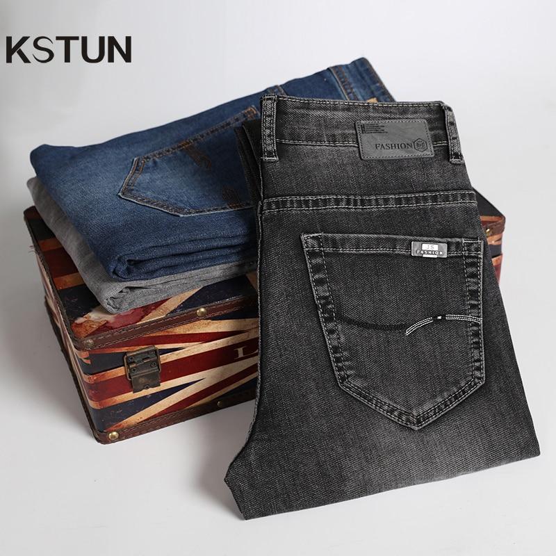 Мужские повседневные джинсы KSTUN, темно серые Стрейчевые джинсы прямого покроя, брюки хорошего качества, 40 Джинсы      АлиЭкспресс