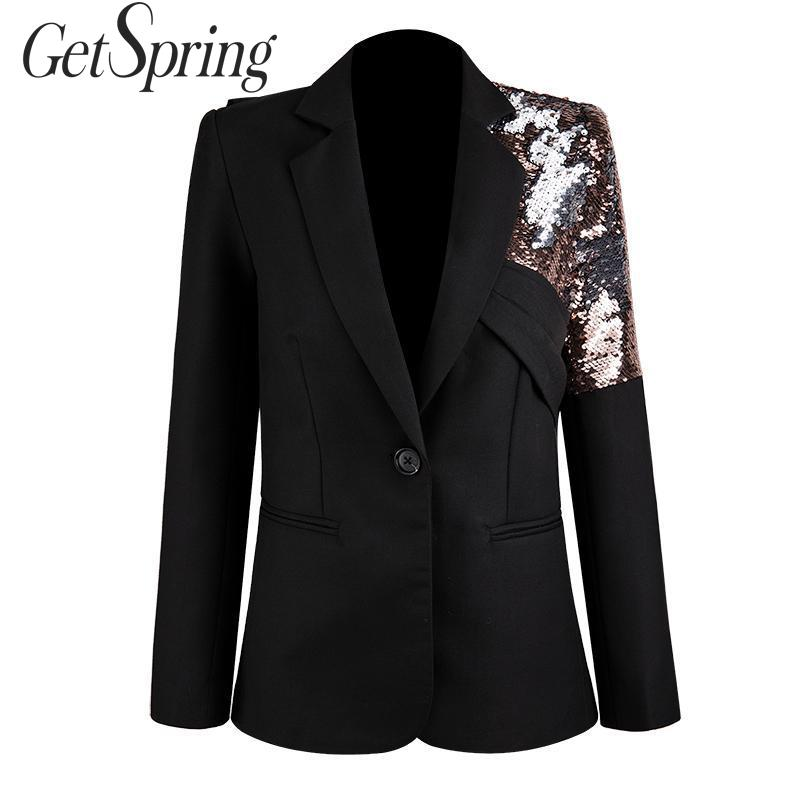 GetSpring Women Blazer Single Button Long Sleeve Ladies Black Blazer Coat Sequins Stitching Asymmetric Women's Slim Suit Jacket