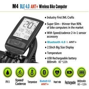 Image 2 - M4 kablosuz bisiklet bilgisayar bisiklet kilometre hız ve ritim sensörü bağlayabilirsiniz Bluetooth ANT +( SET bir nabız monitörü)