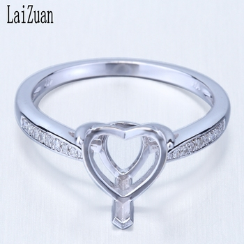 LaiZuan Heart Cut 8x8mm Real 10k White Gold Natural Diamond Engagement Wedding Women Trendy Fine Jewelry Semi Mount Ring Setting image