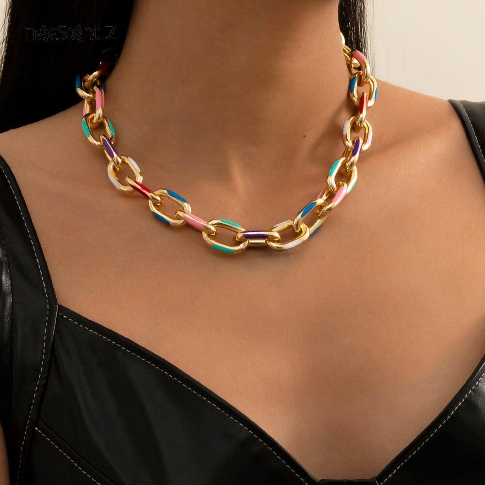 Чокер IngeSight.Z из толстой алюминиевой панцирной цепи в готическом стиле, короткое ожерелье до ключиц с принтом в готическом стиле, Ювелирное У...