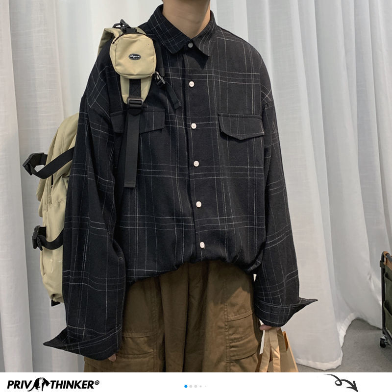 Privathinker Korean Men Plaid Shirts Autumn New Man Casual Long Sleeve Checked Blouse 2020 Harajuku Men Oversized Shirt Tops