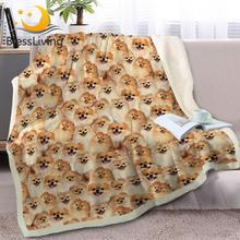 BlessLiving Golden Pomeranian Sherpa Blanket on Beds Dog Collection Throw Blanket for Kids Animal Dog Soft Bedspreads manta