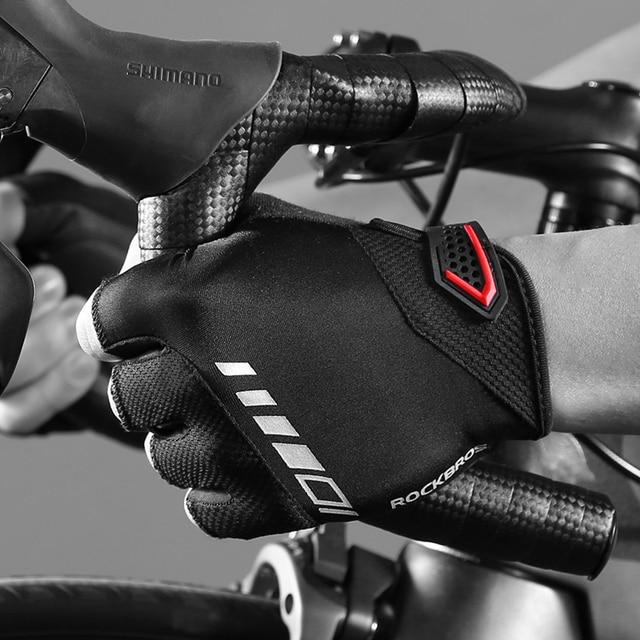 ROCKBROS Pro Luvas de Ciclismo Homens Mulheres Meia Luvas de Dedo Luvas de Bicicleta de Estrada de Montanha MTB À Prova de Choque Não-slip Equipamento de Ciclismo 5
